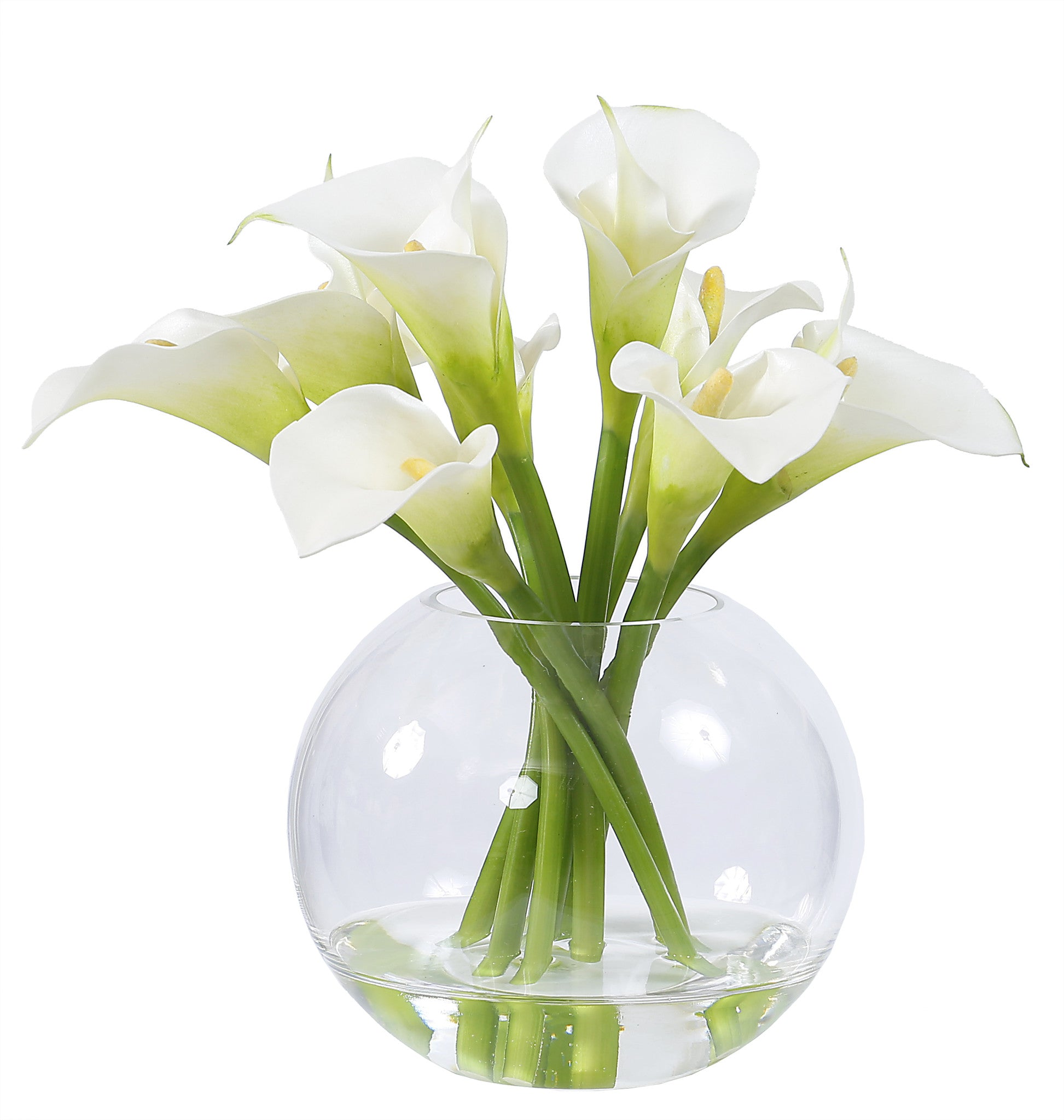 CALLA LILY IN GLASS 11'' (WHI003-WH) - Winward Home faux floral arrangements