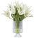 TULIPS IN PINEAPPLE GLASS 15.5'' (WHI006-WH) - Winward Home faux floral arrangements