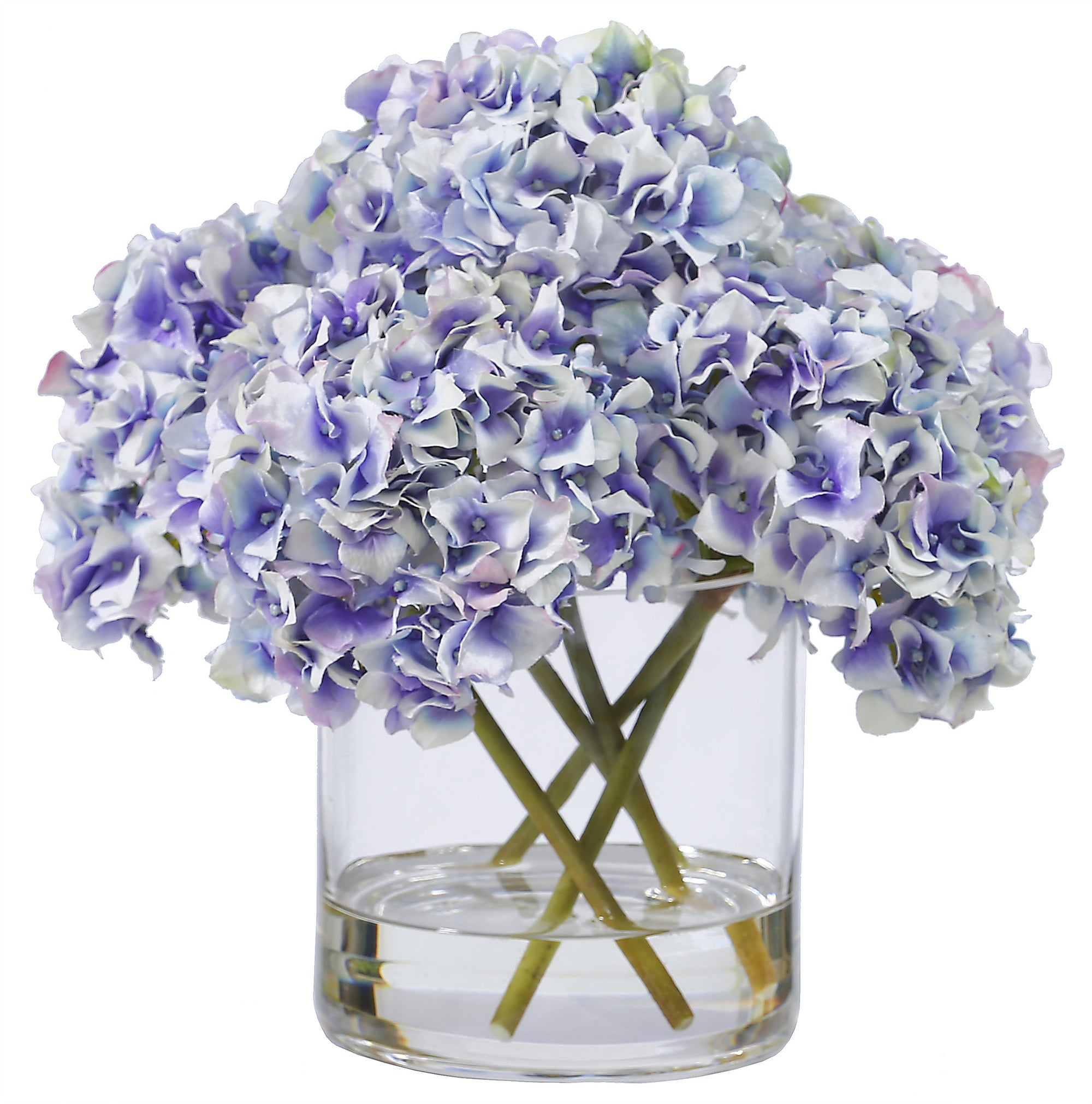 HYDRANGEAS IN GLASS 12'' (WHI007-WHBL) - Winward Home faux floral arrangements