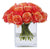 ROSE BUD IN SQUARE GLASS 8.5'' (WHI009-PCRD) - Winward Home faux floral arrangements