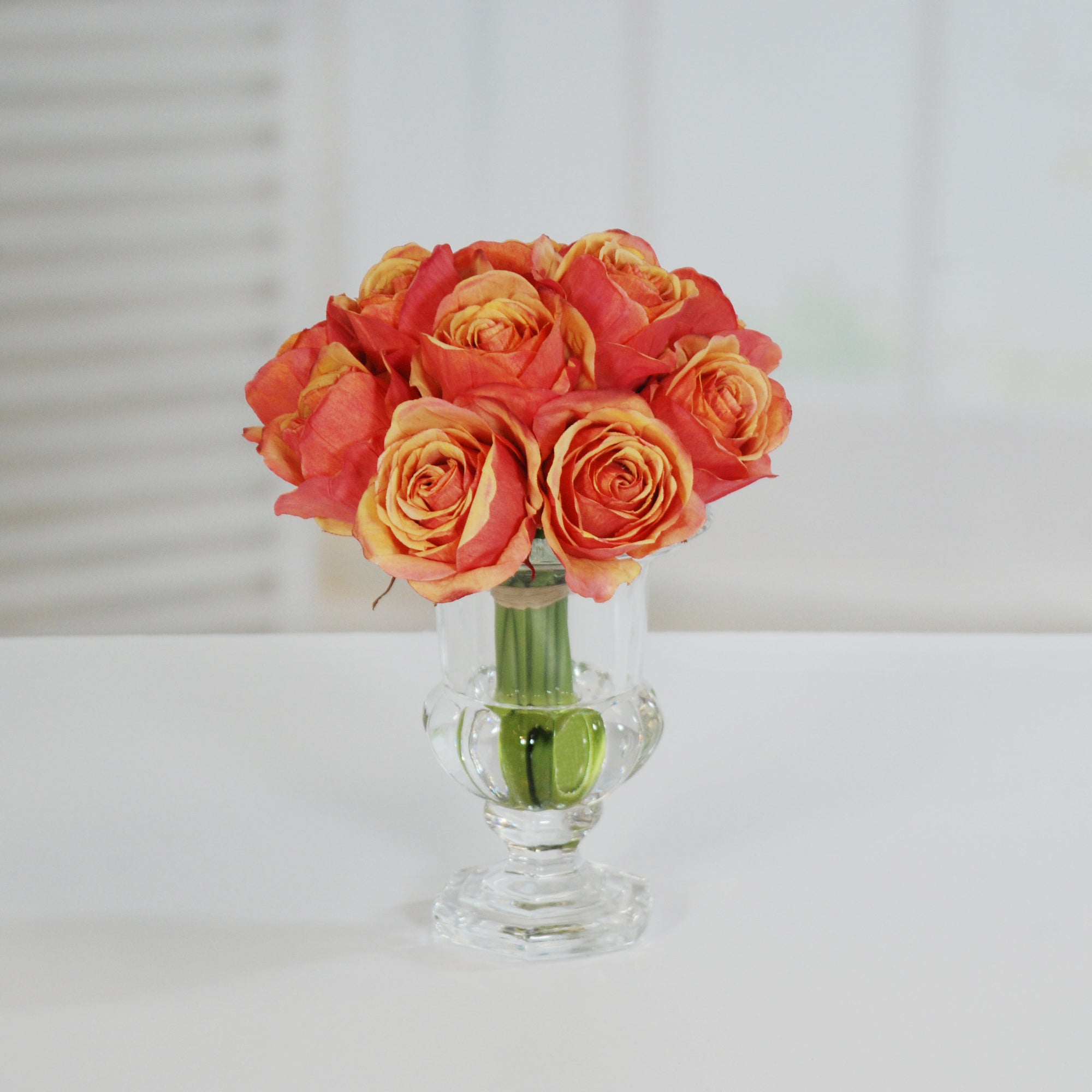 ROSE IN CRYSTAL GLASS 9.5'' (WHI010-PCRD) - Winward Home faux floral arrangements