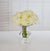 ROSE IN CRYSTAL GLASS 9.5'' (WHI010-WH) - Winward Home faux floral arrangements