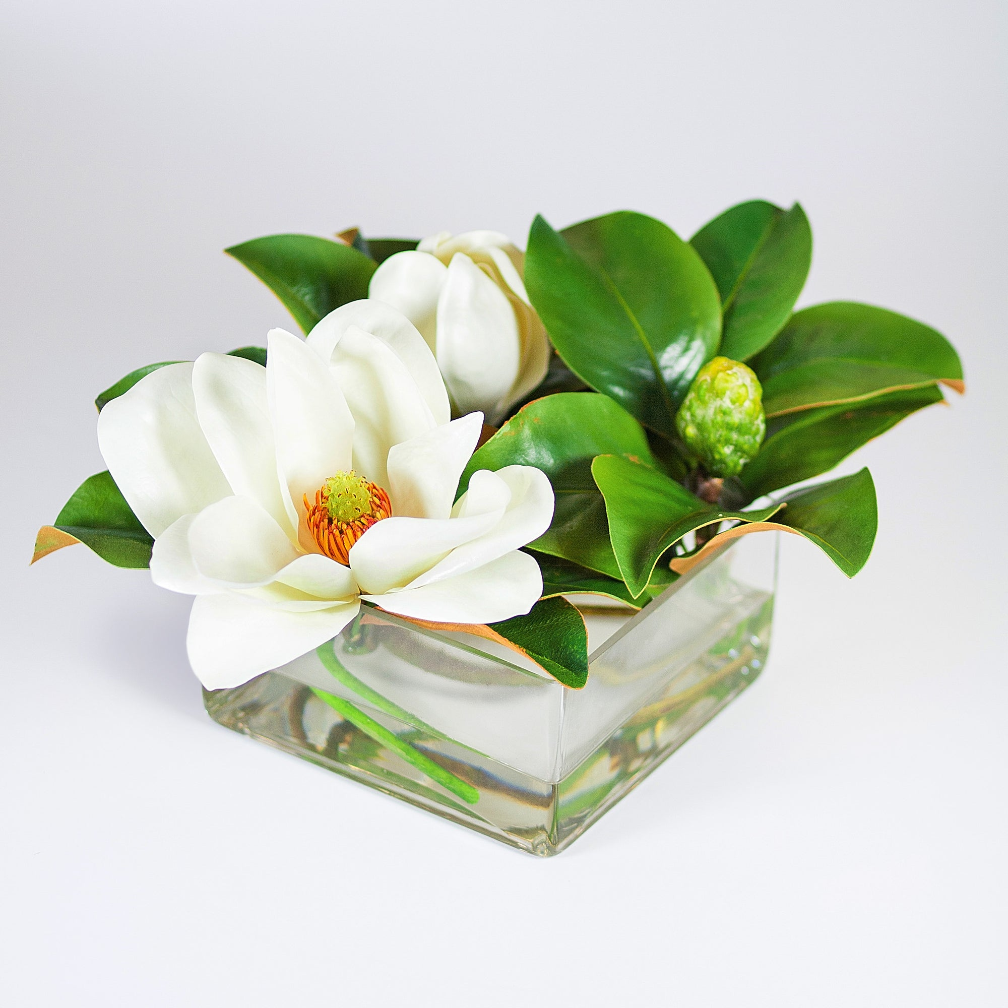 MAGNOLIAS IN VASE 13'' (WHI012-WH) - Winward Home faux floral arrangements