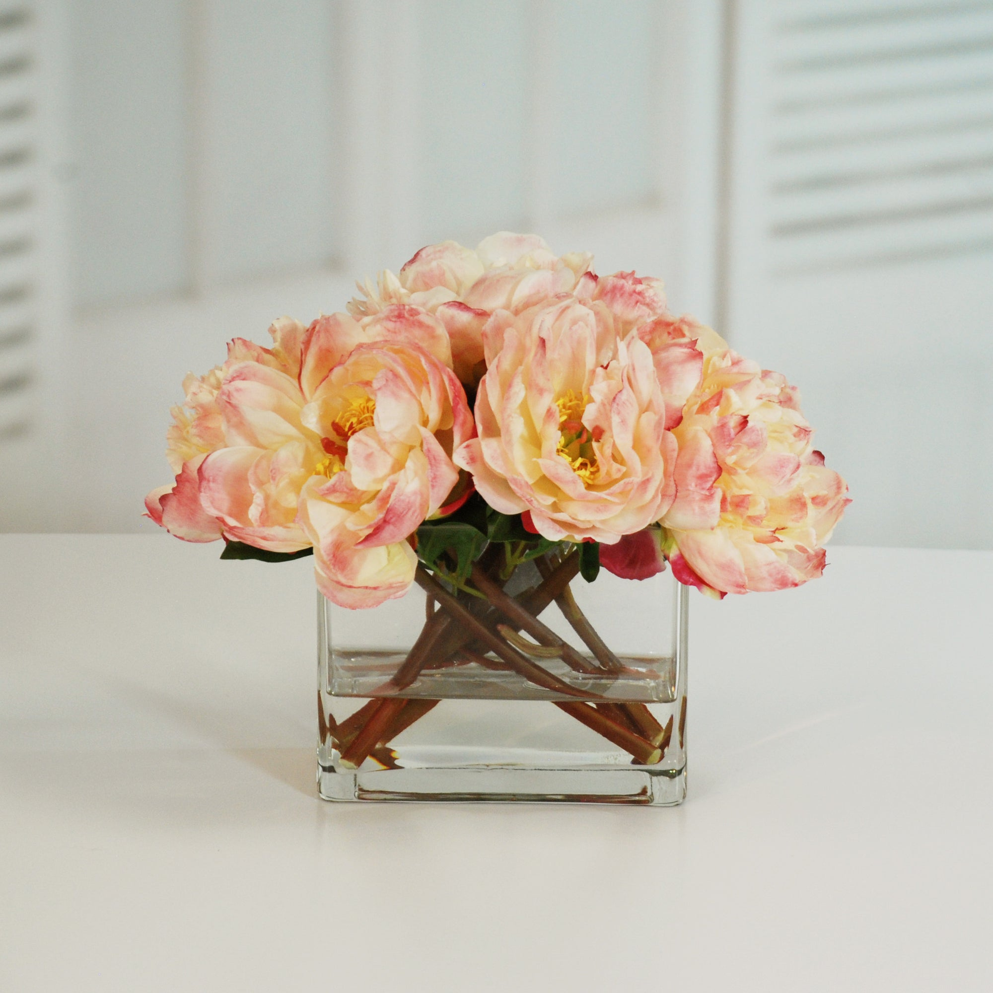 PEONIES IN VASE 14'' (WHI014-PC) - Winward Home silk flower arrangements