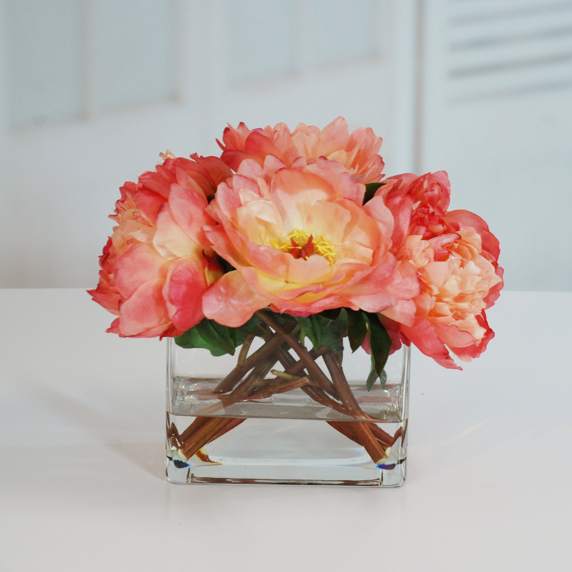 PEONIES IN VASE 14'' (WHI014-SM) - Winward Home silk flower arrangements