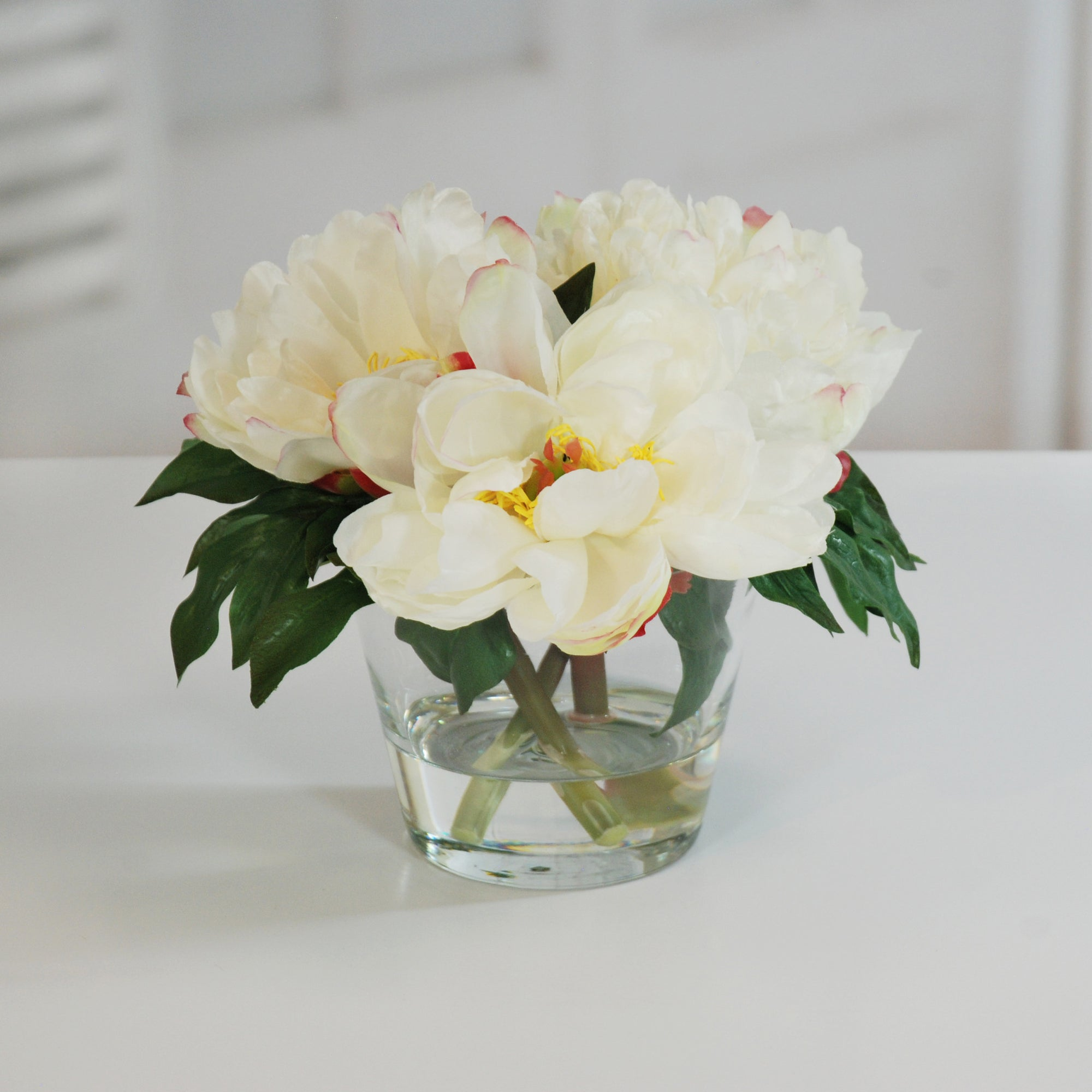 PEONIES IN GLASS 10'' (WHI015-WH) - Winward Home faux floral arrangements