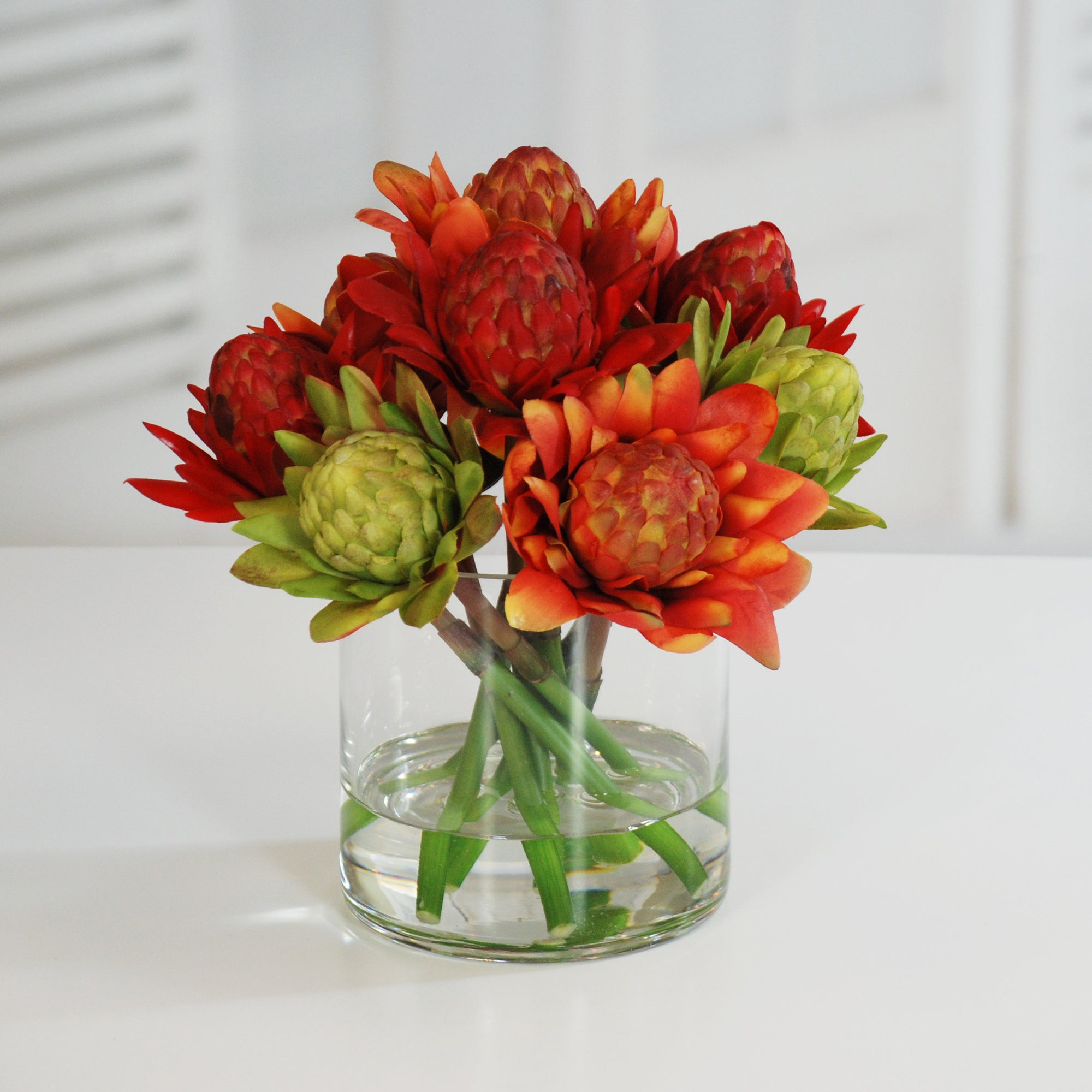 WARATAH BLOSSOM IN GLASS (WHI017-MI) - Winward Home silk flower arrangements