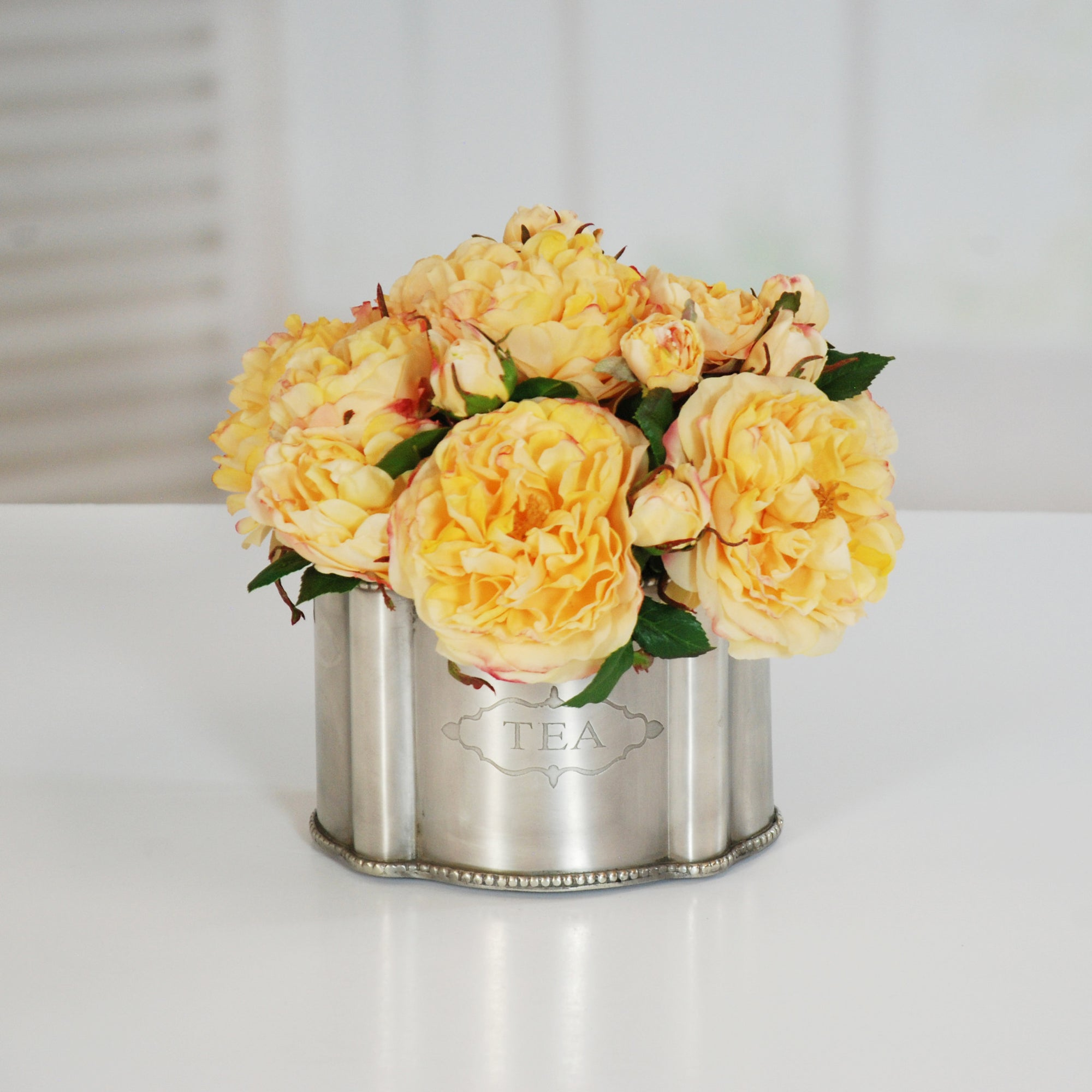 ROSE IN SILVER TIN (WHI019-GO) - Winward Home faux floral arrangements