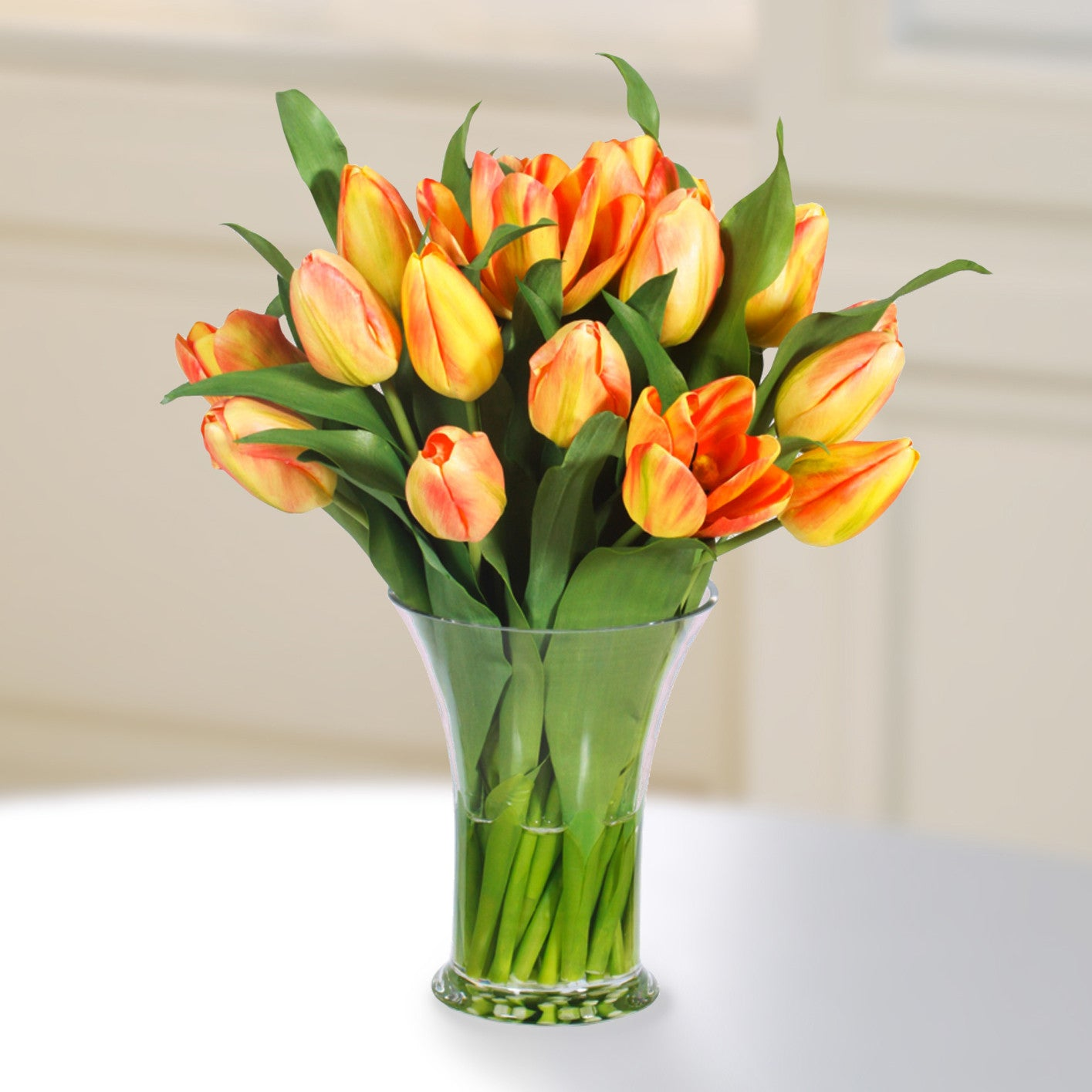 TULIP IN GLASS 16'' (WHI030-YLOR) - Winward Home silk flower arrangements