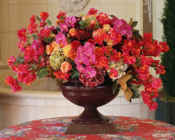 ROSE/BOUGAINVILLEA IN ESQUIRE URN (WHICON06-FUOR) - Winward Home silk flower arrangements