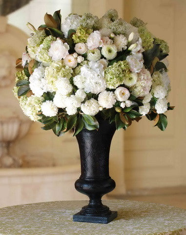 HYDRANGEA/PEONY IN EMPIRE URN (WHICON10-WHGR) - Winward Home faux floral arrangements