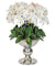 WHITE ORCHID ICON IN SILVER CONTAINER 48""