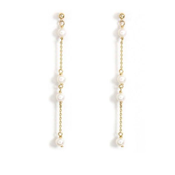 Spaced Baby Pearl Earrings