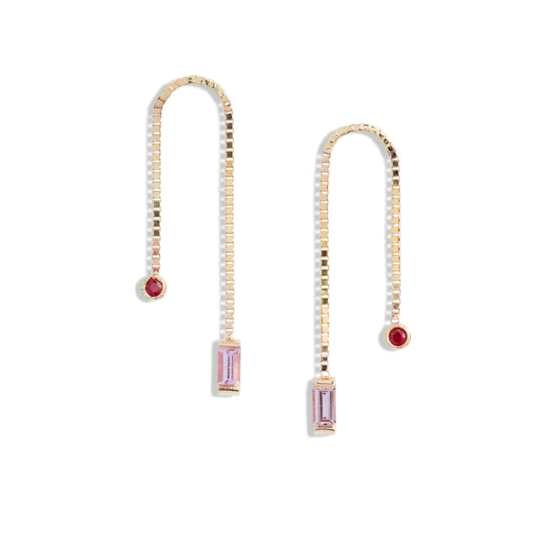Ruby & Pink Sapphire Box Chain Earrings