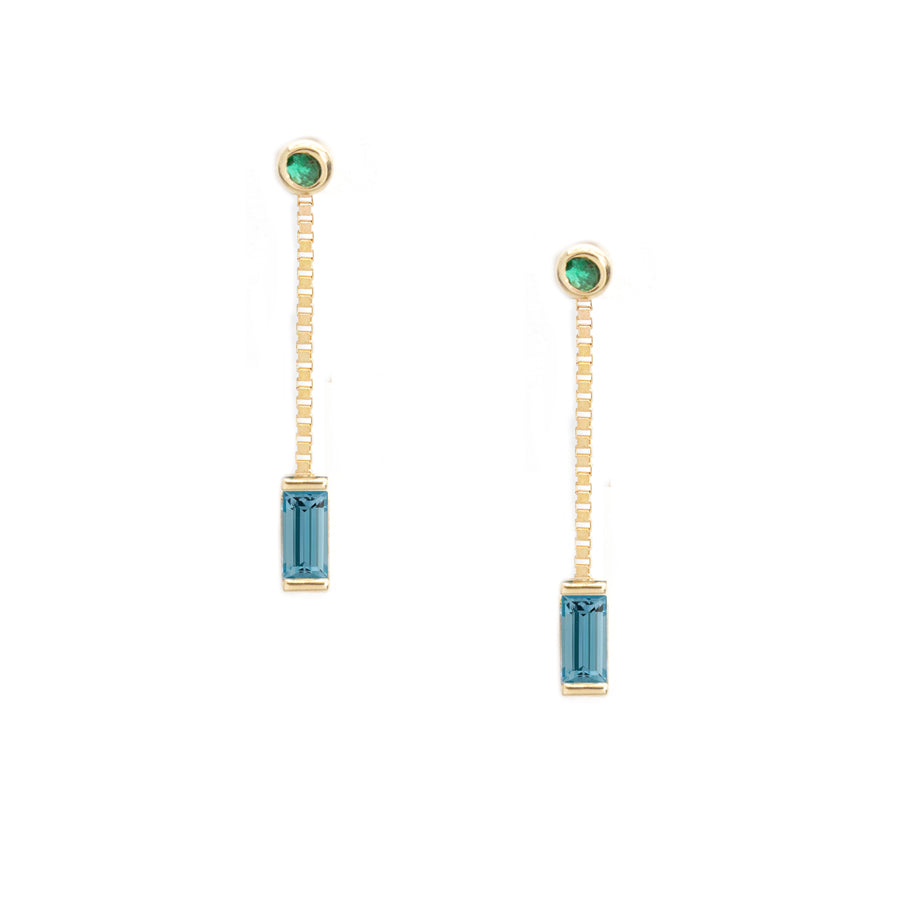 Emerald Aquamarine Dangle Earrings