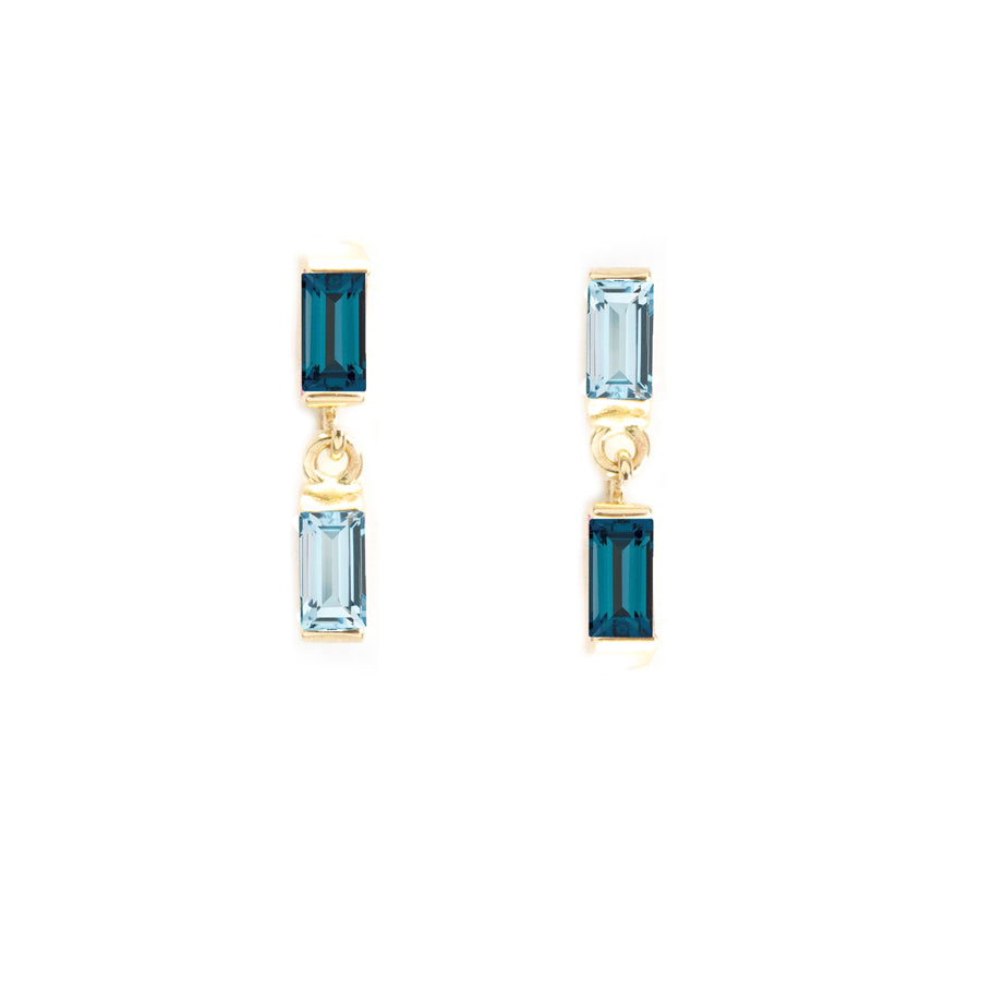 Contrast Blue Topaz Stud Earrings