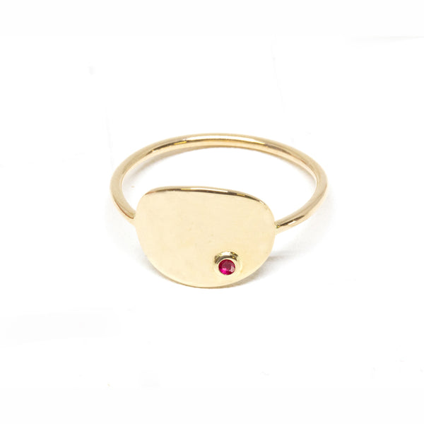 Oval Ruby Signet Ring