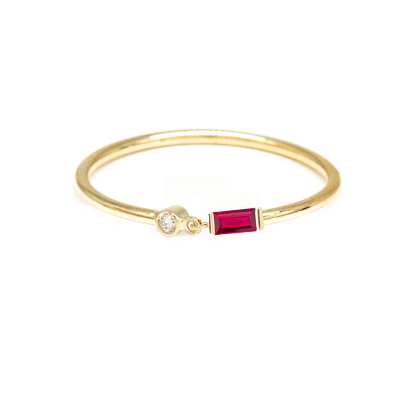 Baguette Ruby Diamond Ring