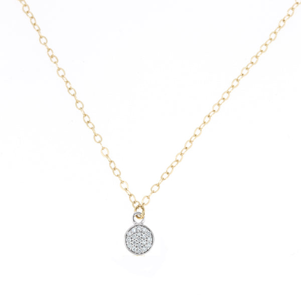 Round Pave Diamond Pendant Necklace