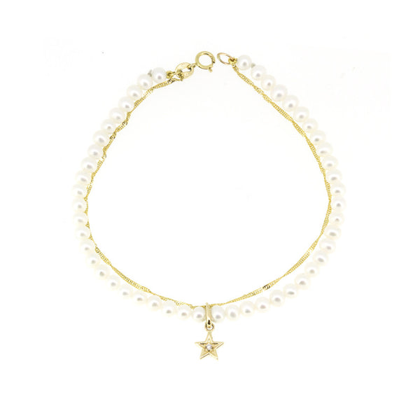 Gold Pearl Duo Diamond Star Bracelet