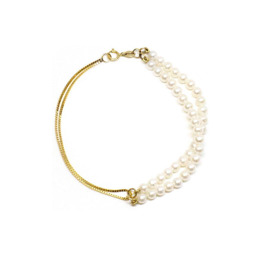 Double Box Chain Pearl Bracelet