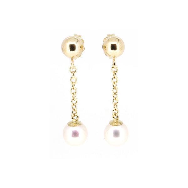 Gold Ball Pearl Linear Earrings