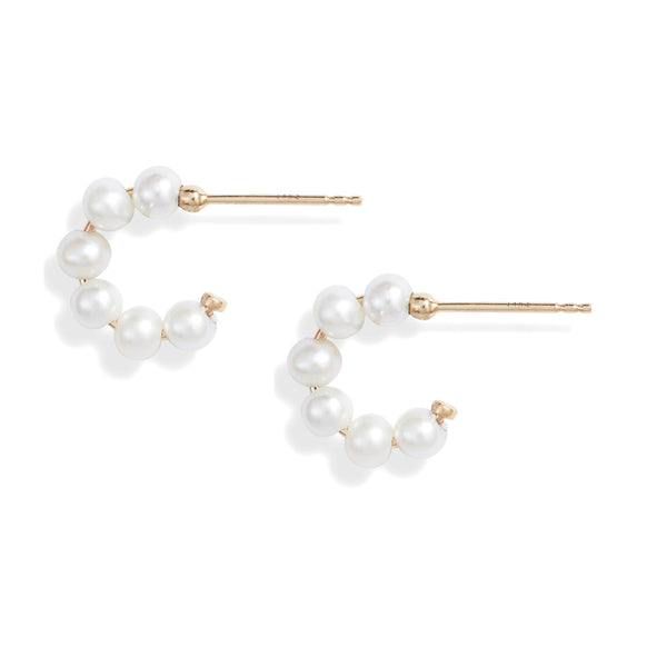 Mini Baby Pearl Huggie Earrings
