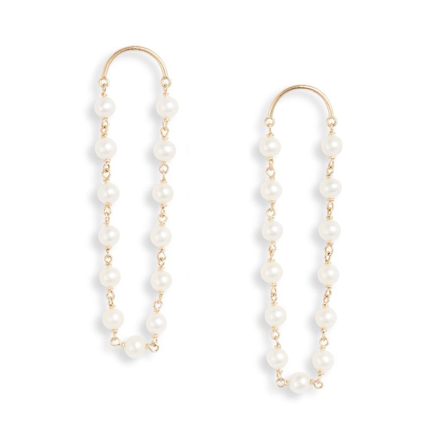 Gold Crescent Long Pearl Drop Earrings