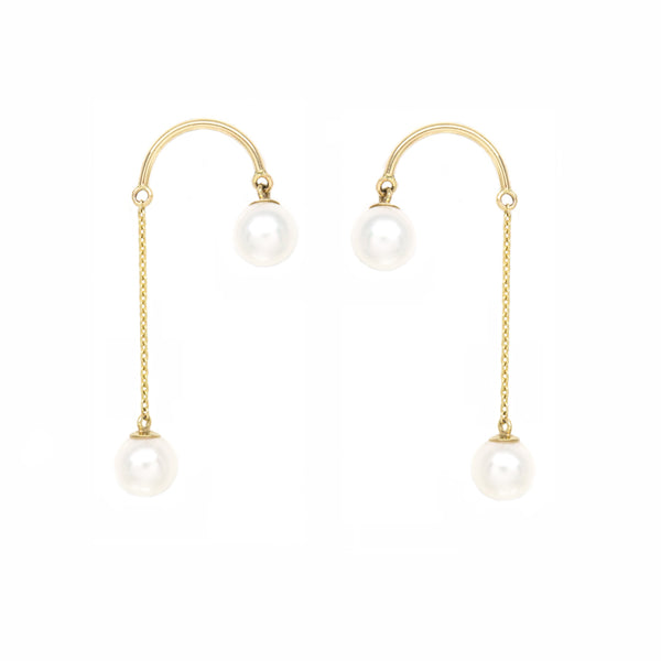 Crescent Hi-Lo Petite Pearl Earrings