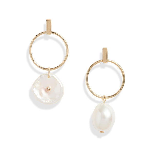 Circle Baroque Petal Pearl Earrings