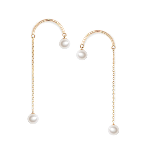 Crescent Hi-Lo Pearl Earrings
