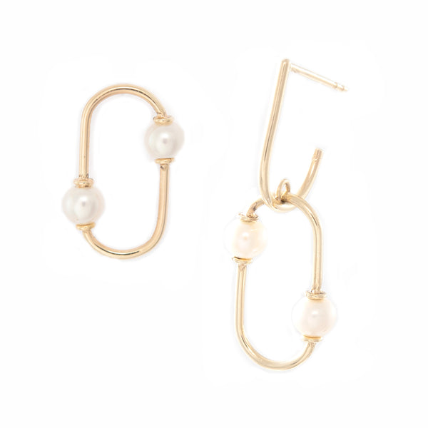 Mismatch Pearl Oval Earrings