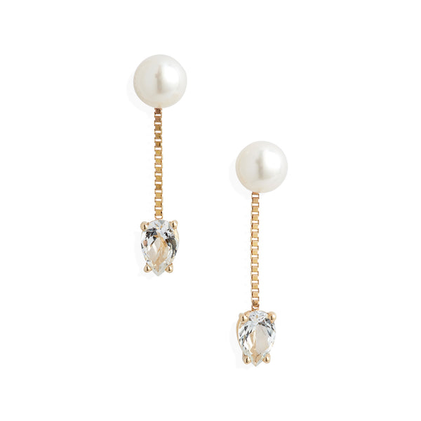 Pearl White Topaz Chain Drop Earrings
