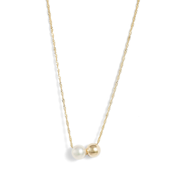 Gold Pearl Duo Pendant Necklace