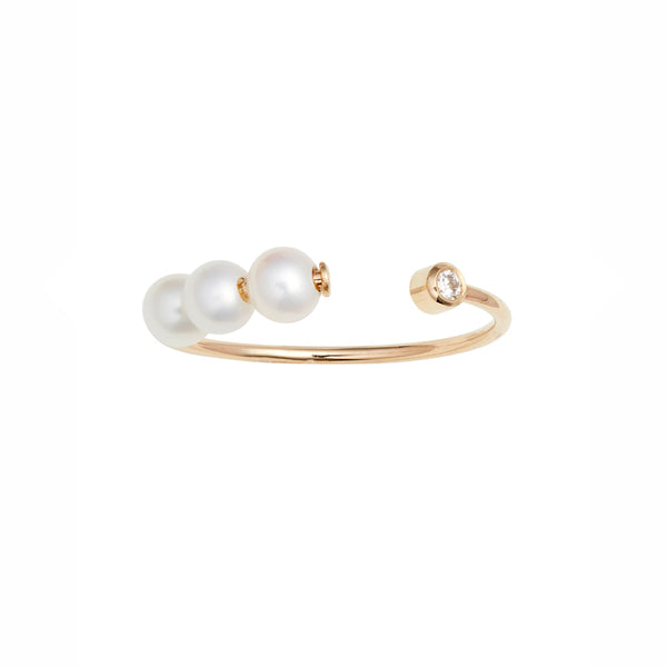 Triple Baby Pearl Diamond Ring