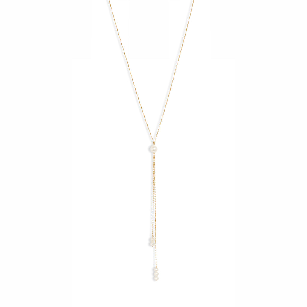 Pearl Dangle Double Lariat Necklace