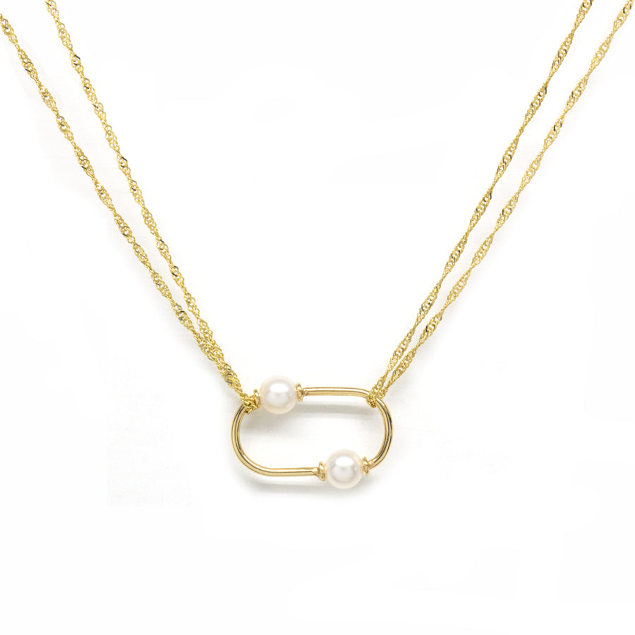 Oval Pearl Pendant Shimmer Necklace