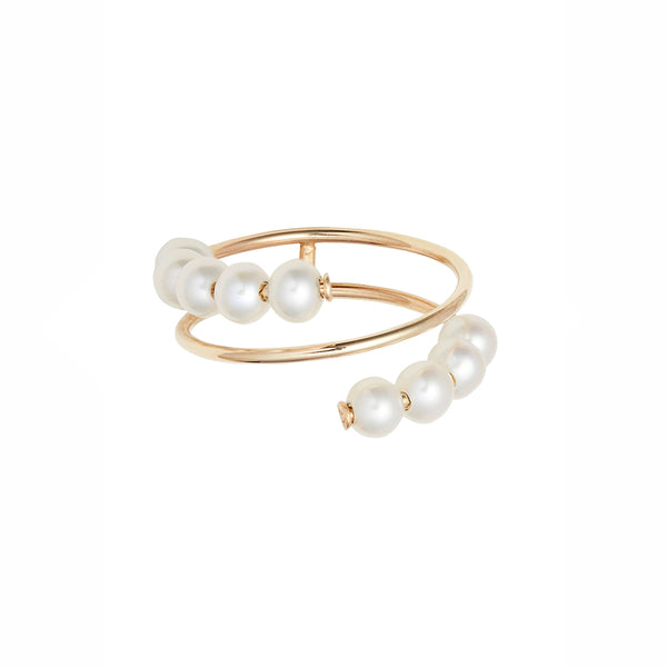 Double Baby Pearl Spiral Ring