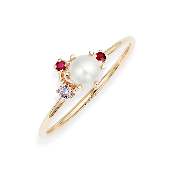 Pearl Ruby Pink Sapphire Cluster Ring