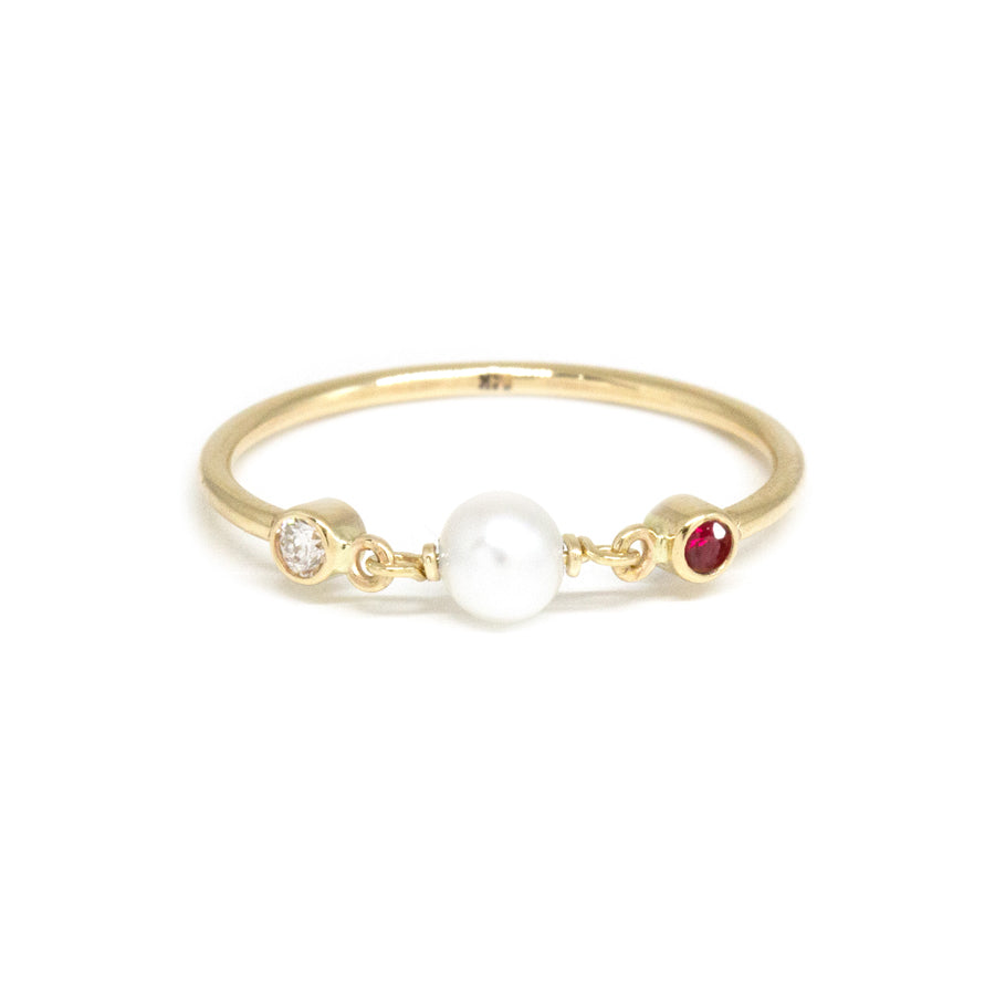 Ruby Pearl Diamond Ring