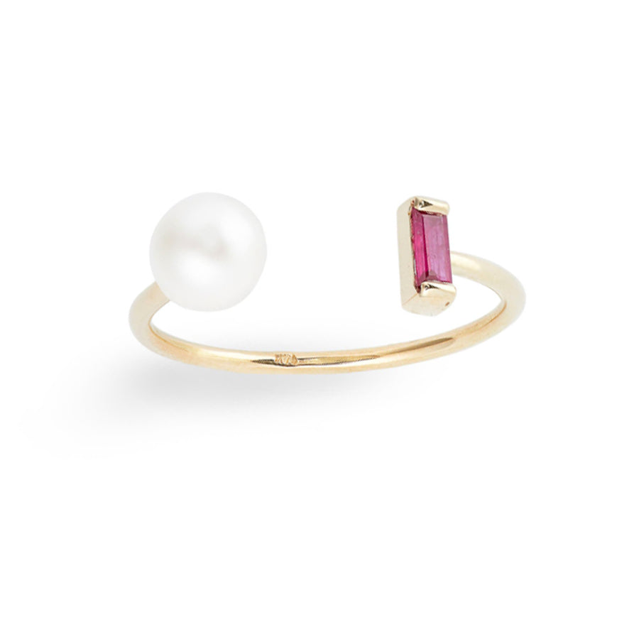 Baguette Ruby Pearl Open Ring