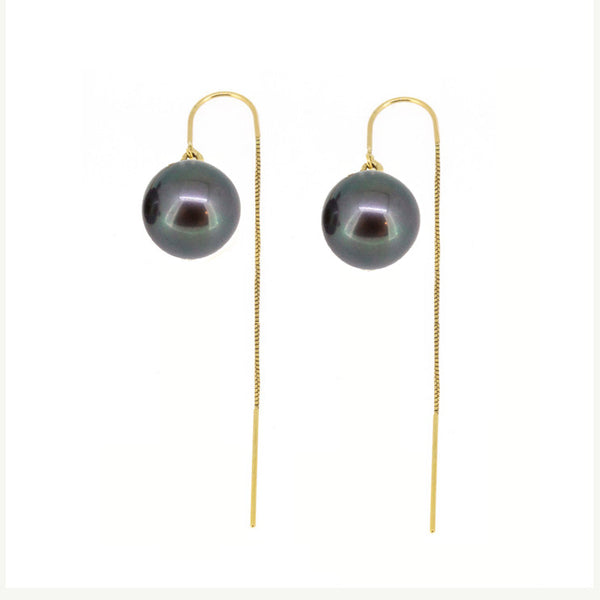Black Pearl Threader Earrings