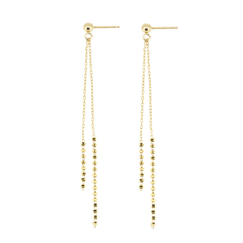 18K Yellow Double Shimmer Earrings