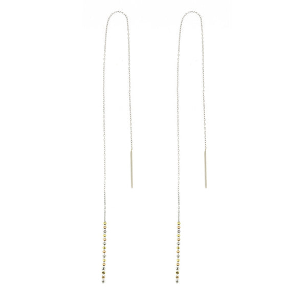 18K Long Shimmer Threader Earrings
