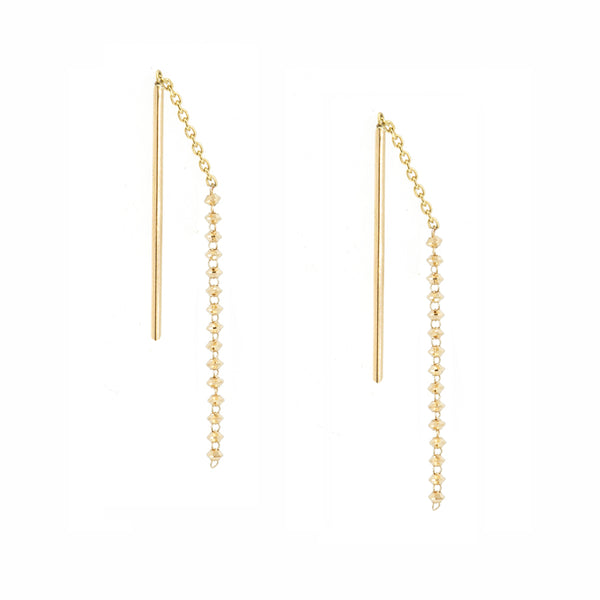 18K Short Shimmer Threader Earrings