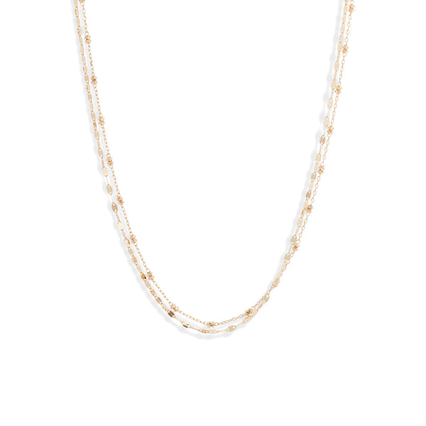 18K Shimmer Beaded Duo Necklace