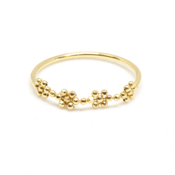 18K Flower Bead Ring