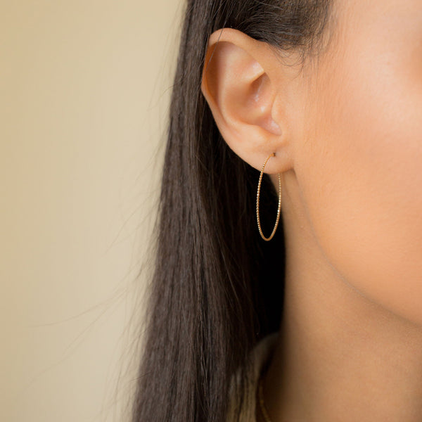 18K Medium Skinny Beaded Hoop Earrings