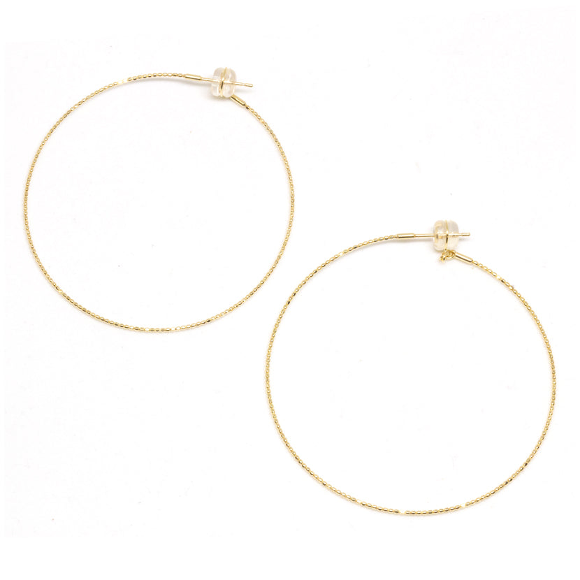 18K Large Skinny Beaded Hoop Earrings