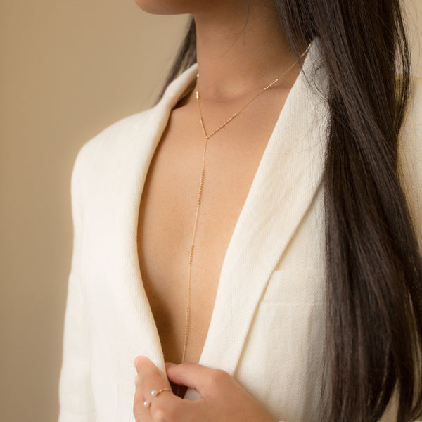 18K Long Shimmer Lariat Necklace